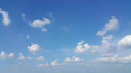 Blue sky and scatter white clouds.