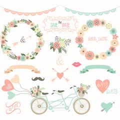 Vintage Wedding Floral Collection.Flora,Wreath,Laurel,Lace,Wedding Bicycle ,Wedding invitation
