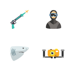 four cute diving icons