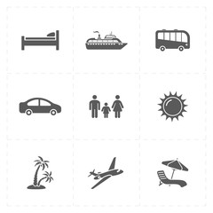 nine flat travel company icons
