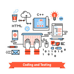 Mobile application design, coding process concept