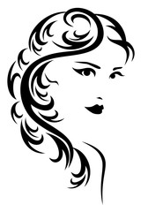 elegant hairstyle vector illustration - black and white stylized portrait of a beautiful woman with long hair