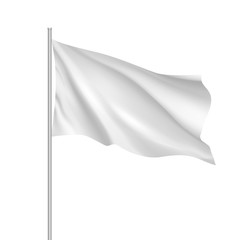 White waving flag template. Clean horizontal flag, for your design. Empty blank of flag on flagpole. Vector 3d mockup.