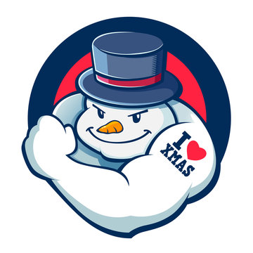 Bad Boy Snowman Character Illustration