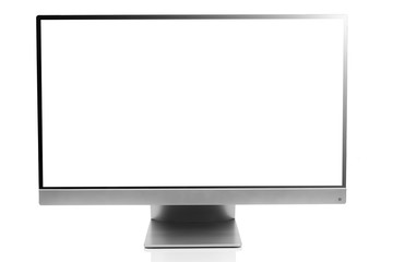 Sleek modern computer display with blank white screen, front view and isolated on white background with reflection