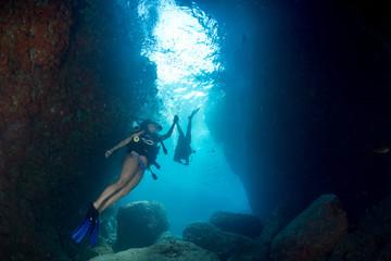 Beaytiful Latina Diver Inside a canyon