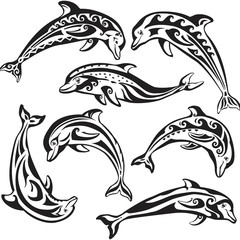 Set of decorated dolphins on black