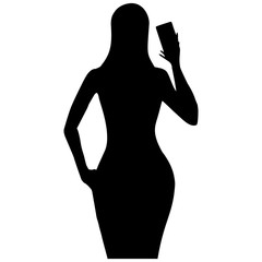 Silhouette of a girl taking pictures of themselves on the phone making selfies. Vector illustration.