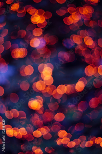 christmas lights blurred background orange and blue