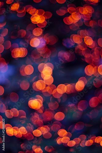 christmas lights blurred background orange and blue