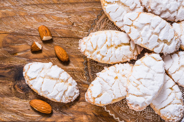 Ricciarelli cookies from Siena, Italy, top view.