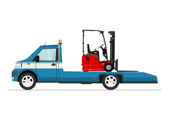 Small truck carrying a forklift. Flat vector.
