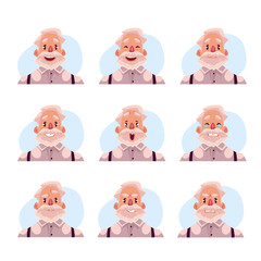 Grey haired old man face expression, set of cartoon vector illustrations isolated on blue background. Old man, grandfather emoji face icons, set of male avatars with different emotions