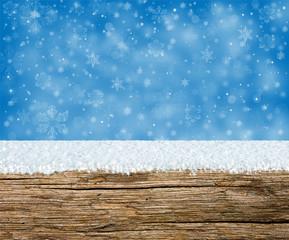 Festive Snowy Wood Shelf