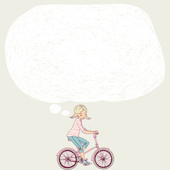 Girl on a bicycle. Template banner or postcard. Template for text