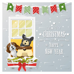 Merry Christmas and Happy New Year greeting card with dog family , vector , illustration