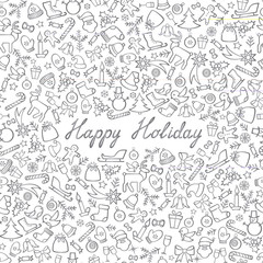 Christmas Icons Seamless Pattern. Happy Winter Holiday Wallpaper Greeting card, handwritten lettering Happy Holiday