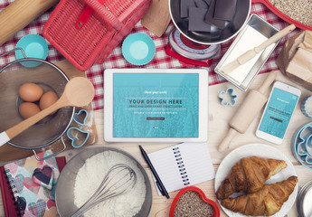 Tablet and Smartphone Surrounded by Baking Supplies Mockup 2