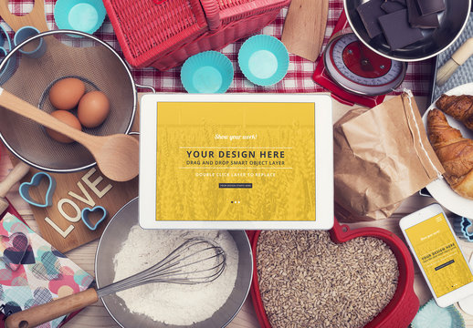 Tablet and Smartphone Surrounded by Baking Supplies Mockup 1