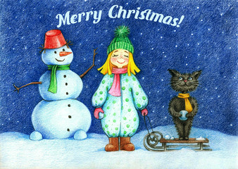 "hands drawn picture of girl, cat and snow man standing under flying snowflakes by the pencils and text ""Merry Christmas!"" Winter card. Winter idea concept. Winter illustration"