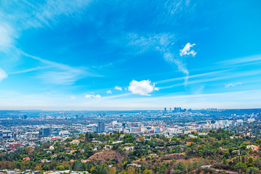Los Angeles under a blue sky