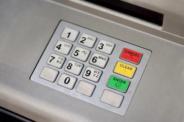 ATM cash machine keypad in the city center