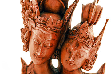 Wooden figure of the Prince and Princess of Indonesia