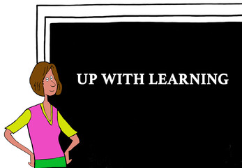 Color education illustration showing a female teacher and 'up with learning' on the blackboard.