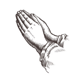 Hands folded in prayer. Sketch vector illustration
