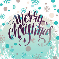 merry christmas hand written calligraphy with snowflakes greetin