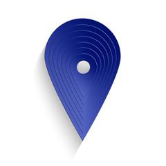 Punto di geolocalizzazione di colore blu con ombra isolato su sfondo bianco _ perno geo blu
