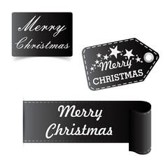 Merry Christmas black sticker, badge vector illustration.