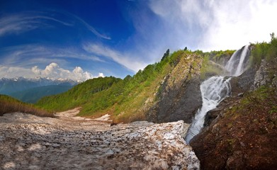Waterfall . in Caucasus mountains, Krasnodar krai