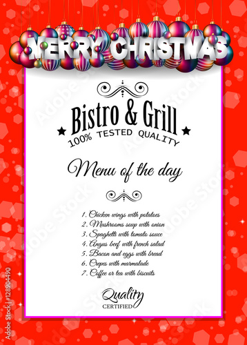 Christmas Dinner Or Lunch Restaurant Menu Template Stock