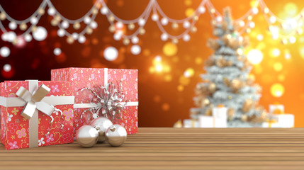 3D rendering, Gift Box on wooden floor with blurred colorful background.