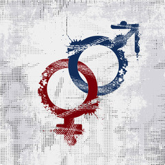 Grunge Male and Female Gender Symbol. Men and Woman sign on grunge background.