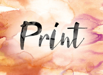 Print Colorful Watercolor and Ink Word Art