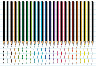 Colour Pencils on Ruled Line Paper Background