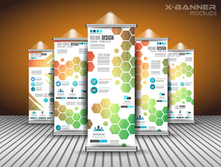 Set of Advertisement roll up business flyers or brochure banners with vertical design.