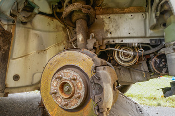 Wheel housing with visible break disc and suspension