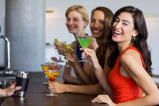 Beautiful women having cocktail