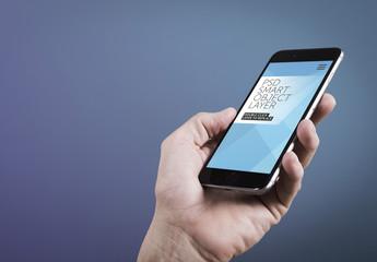 Closeup of Smartphone in Hand on Gradient Mockup 1