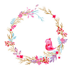 Hand drawn illustration - watercolor wreath. Christmas Wreath with flowers, berries. Perfect for invitations, greeting cards, quotes, blogs, Wedding frames, posters and more