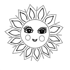 Vector illustration of smiling sun black and white