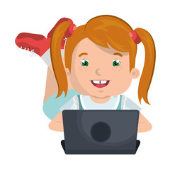 little kid online with laptop vector illustration design