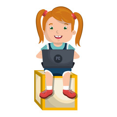 little kid online with laptop vector illustration design