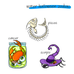 Colorful and funny halloween zodiac signs. Water part.