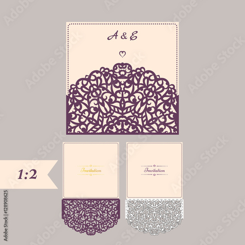 Abstract wedding cutout invitation template suitable for abstract wedding cutout invitation template suitable for lasercutting lazercut vector wedding invitation template stopboris Choice Image