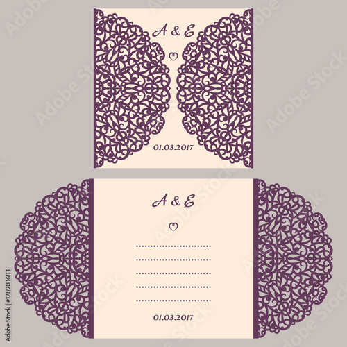 Wedding invitation or greeting card with abstract ornament vector wedding invitation or greeting card with abstract ornament vector envelope template for laser cutting stopboris Choice Image