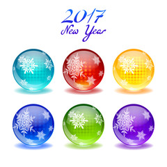 Set of shiny glossy glass balls with snowflake print on it.